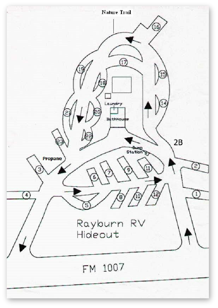 Rayburn RV Hideout Park Map